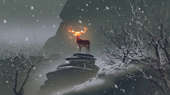 The Deer with its Fire Horns Standing on Rocks in Winter