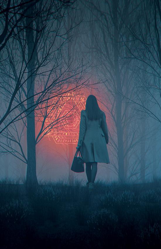 Woman Walking Towards Glowing Alien Symbol